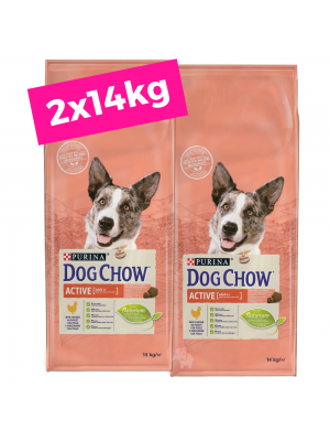 2 X DOG CHOW Adult Active/Frango 14kg+OFERTA